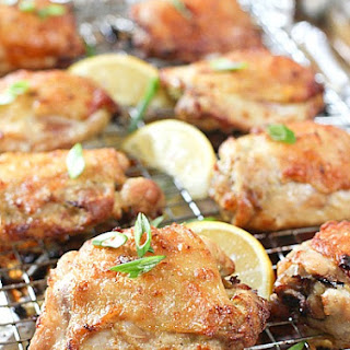 Oven Baked Crispy Chicken Thighs with Garlic, Lemon and Scallion