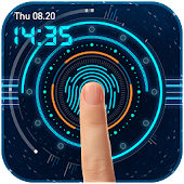 Fingerprint Lock Screen with Digital Clock Prank