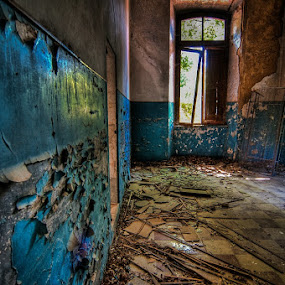 The Blue Room by Frans Scherpenisse - Buildings & Architecture Other Interior ( building, blue, ruin, room )