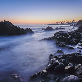 Blue Crush by Givanni Mikel - Landscapes Waterscapes ( corona del mar, california, blue hour, sunset, beach )