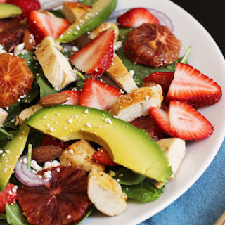 Spinach Salad with Chicken and Strawberries.