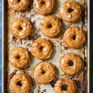 Baked Pumpkin Donuts with Maple Glaze.
