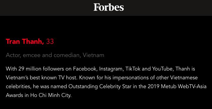 Trấn Thành được gọi là MC nổi tiếng nhất Việt Nam. (Ảnh: Forbes)