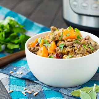 Instant Pot Farro Stuffing with Sausage and Sweet Potatoes.
