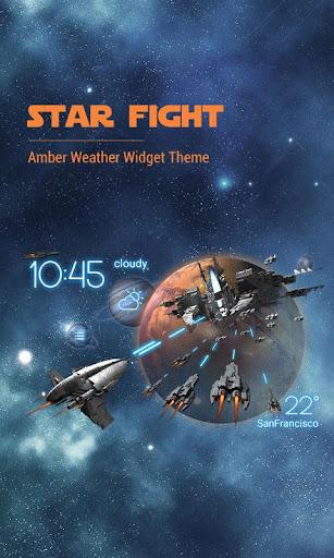 3D Space Fighting Clock Widget
