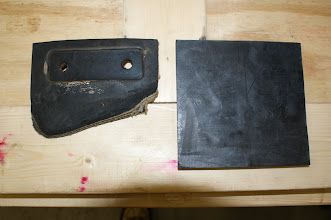 """Photo: Original Rail Sweep Pad (Left). New Sweep Pad (Right). Material is 1/2"""" Conveyor Belt (5""""x5"""").  Qty 4 custom ordered and purchased from Hydro Silica Gasket   http://www.hydro-silica.com/  Photo by J. Loucks"""