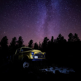 Under the Milky Way by Dustin White - Transportation Automobiles ( milkyway, pickup, lightpainting, night, chevy )