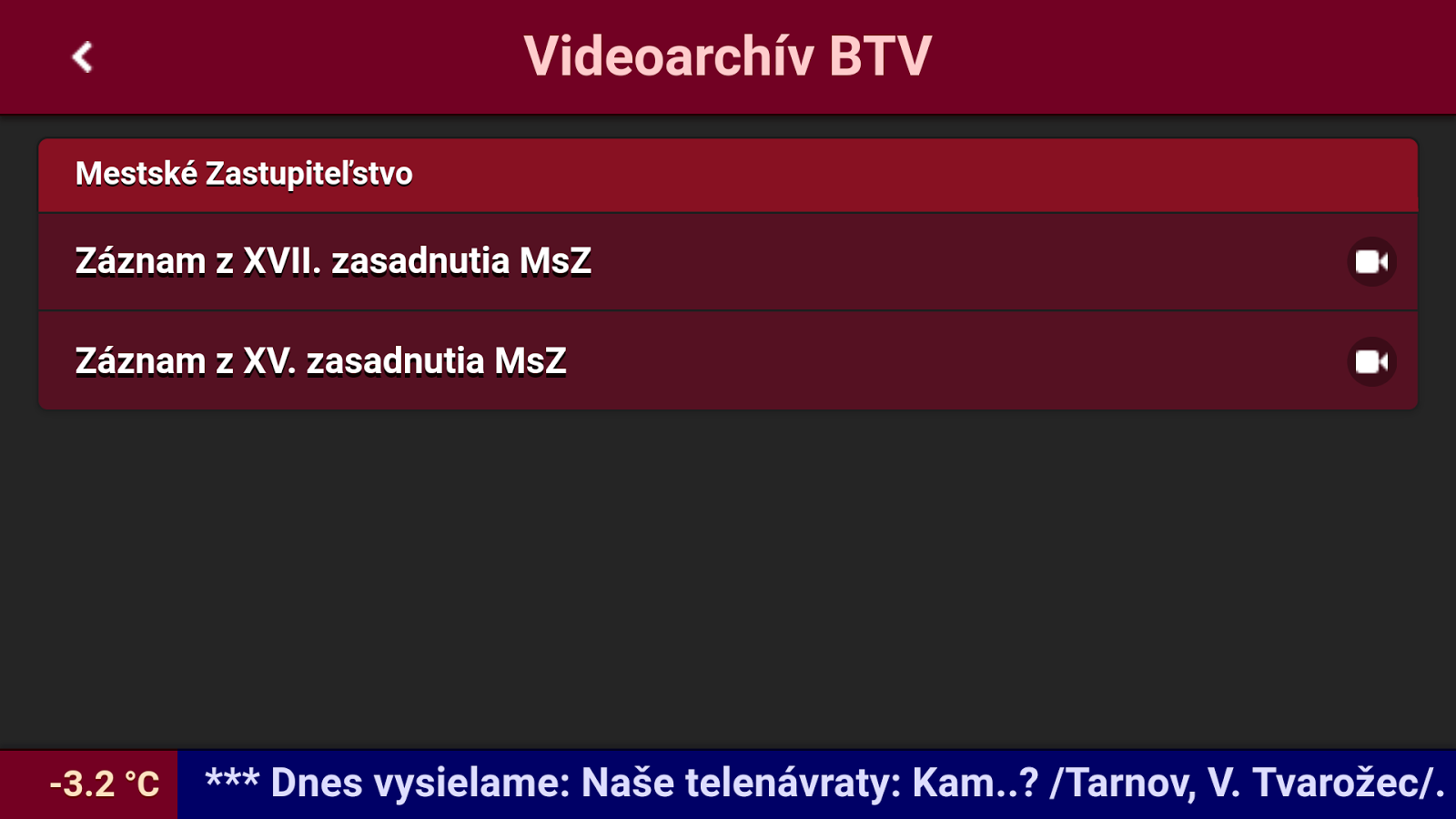 Videoarchiv BTV- screenshot