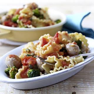 Mafaldine Pasta with Broccoli and Veal Meatballs.