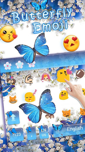 Blue Butterfly Keyboard Theme Baby's Breath Flower 10001005 screenshots 3