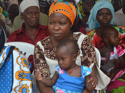 Women with babies attend the official launch of a Sh2 billion fouryear maternal and nutritional programme at the comissioners' office in Kinango, Kwale, in February 2016 /ALLOYS MUSYOKA