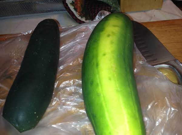 This Was The Largest Cucumber I Could Find.  The Ones Originally Used Were Double This Size.  The Smaller One Is Used To Make Pinwheels.