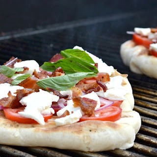 Grilled Bacon and Red Onion Pizza.