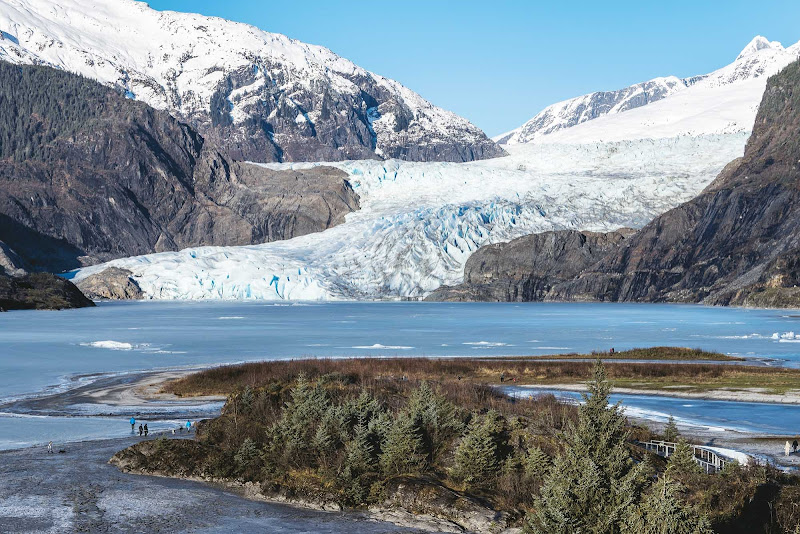 Mendenhall Glacier is surrounded by several hiking trails, including Nugget Falls Trail.