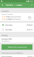 Screenshot of Captain Train: train tickets