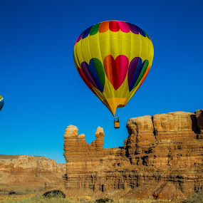 Balloons over Bluff by Josh Ewing - Landscapes Deserts ( utah, hot air balloons )