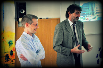 Photo: Přednáška s viceguvernérem ČNB prof. Vladimírem Tomšíkem o finančním sektoru a Bankovní unii (učebna výtvarné výchovy, pátek 19. duben 2013).