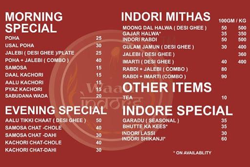Waah! Indore menu 1
