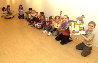 Photo: littl'uns playgroup waiting to leave with their sticker art objects