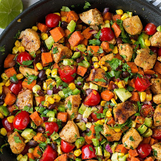 Mexican Honey-Lime Chicken Sweet Potato and Black Bean Skillet.