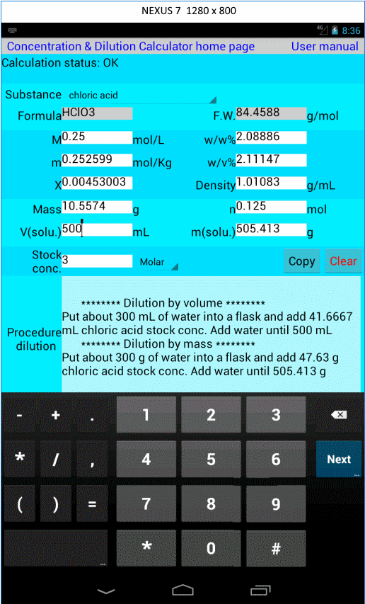 Concentration Calculator Lite-skjermdump