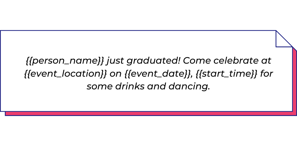 Use this event invitation WhatsApp template to send graduation party invitation messages.