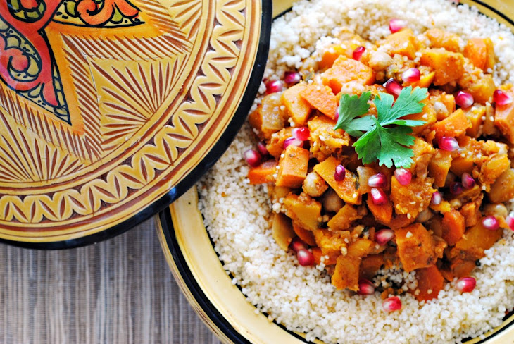 Butternut Squash, Sweet Potato, and Chickpea Tagine with Couscous Recipe