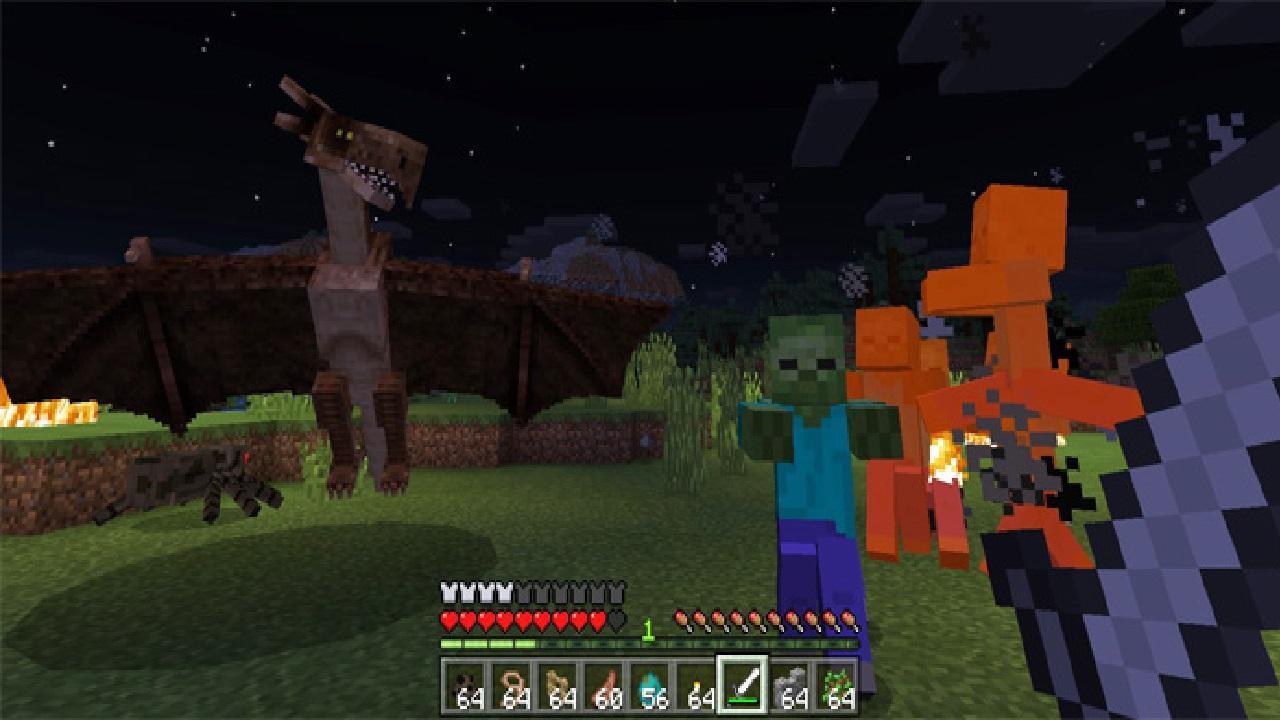 Майнкрафт пе с драконами и лошадьми