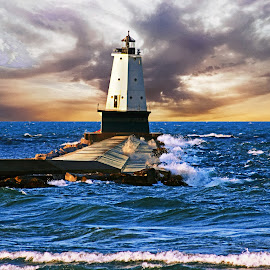 Lake Michigan Lighthouse by Bill Diller - Buildings & Architecture Other Exteriors ( lake michigan, waves, storm, breakwater, lighthouse, stormy, michigan, great lakes, harbor, ludington ighthouse, tranquil, clouds, water, peaceful, calm, north breakwater lighthouse, calmness, tranquility )