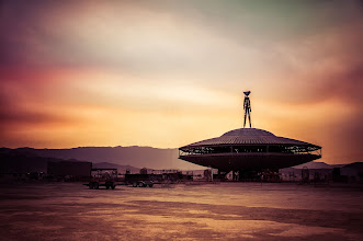 Photo: The huge wooden UFO structure held the man this year... It had so much wood... it was no wonder the fire went 100 feet into the air.