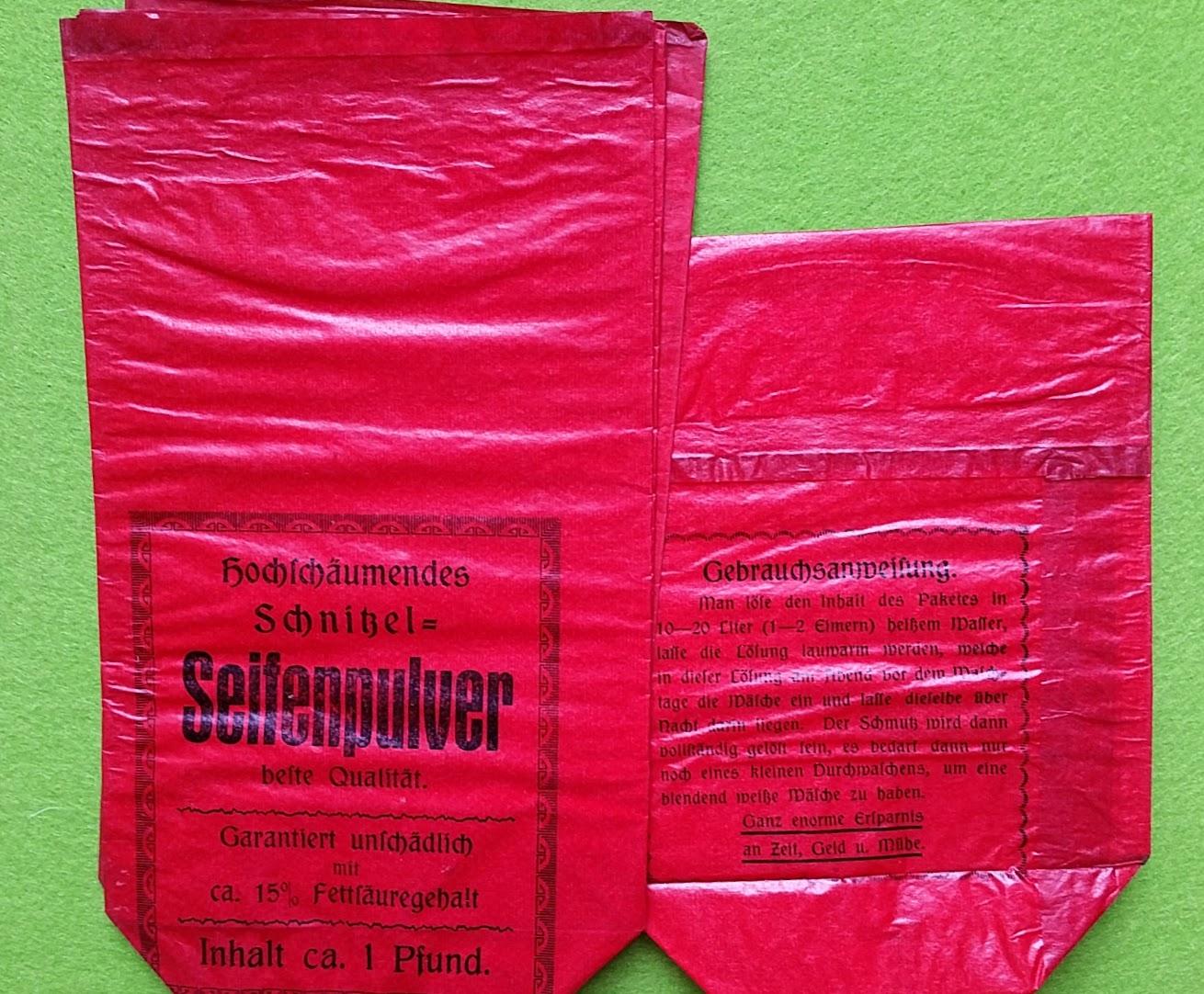 Papiertüten aus der Drogerie und Apotheke - Seifenpulver