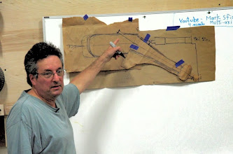 Photo: Once lined up on one center, he determines where the second center will be by extending the handle center line.