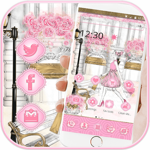 Pink Girl Paris Dream Theme