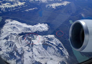 Photo: Flying north from Patagonia, the airplane flew directly over Torres del Paine National Park.  The smaller oval denotes the Hotel Las Torres; the larger oval denotes Mirador de Las Torres.