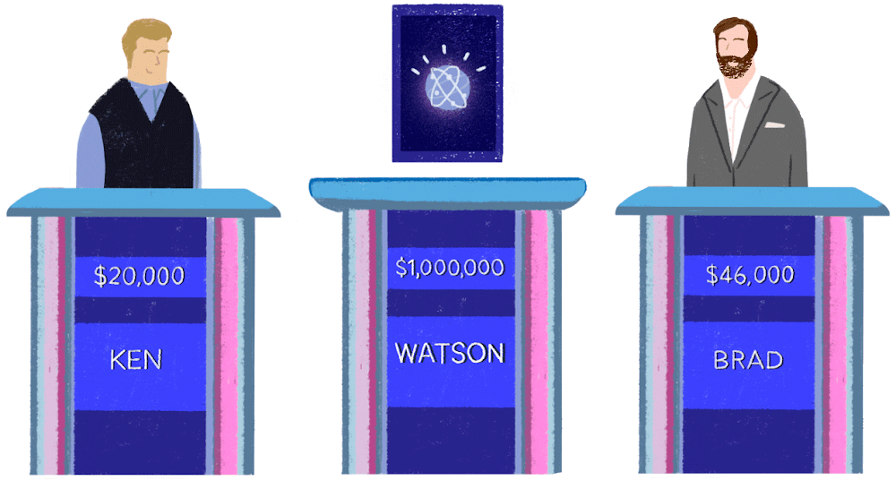 """Three contestants stand at podiums on the TV game show """"Jeopardy!"""" Two are human. One is a computer screen with a glowing IBM Watson logo."""