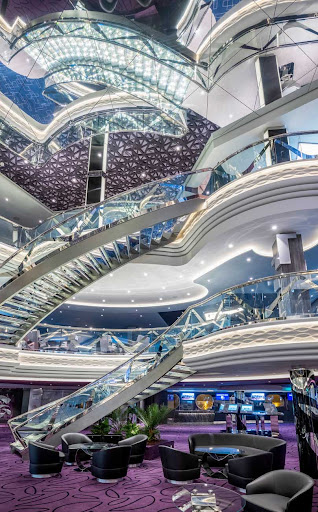The eye-popping Infinity Atrium aboard MSC Virtuosa.