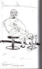 Photo: 腳傷2011.11.21鋼筆 他把腳放定位,靜靜等著上藥…