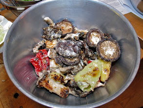 Photo: the grilled mushrooms and peppers