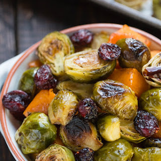 Roasted Balsamic Butternut Squash & Brussels Sprouts.