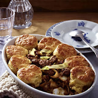 Ground Beef and Onion Pot Pie with Cheese Crust.