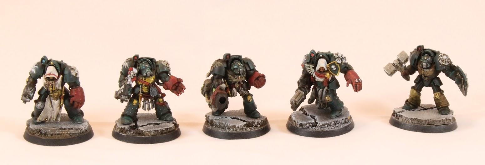 Five terminators, test painted.
