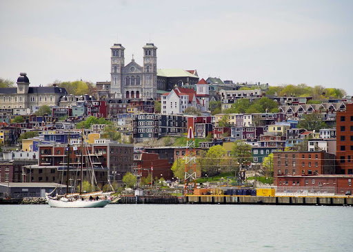 The waterfront of St. John's, capital of Newfoundland and Labrador, with a view of the Basilica Cathedral of St. John the Baptist.