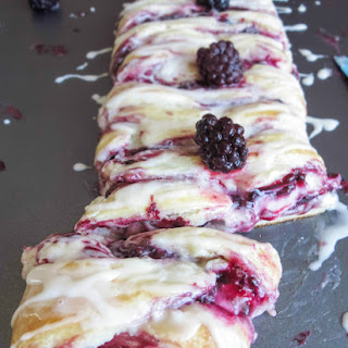 Vanilla Glazed Blackberry Cheese Danish Braid