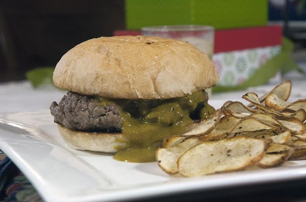 There you go a classic pub burger with some of my homemade chips. Enjoy.