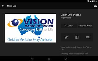 Screenshot of UCB & Vision Radio