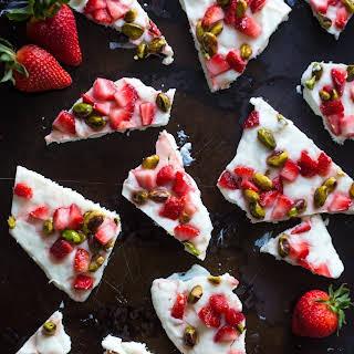 Strawberry and Pistachio Frozen Yogurt Bark.