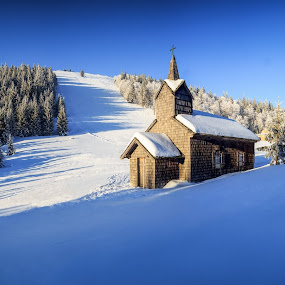 Winter chapel on the hill by Zoltan Duray - Landscapes Mountains & Hills ( ski, winter, mountain, church, snow, unterberg, chapel, austria, alps, , garyfonglandscapes, holiday photo contest, photocontest, white, quality, detail, landscapes )