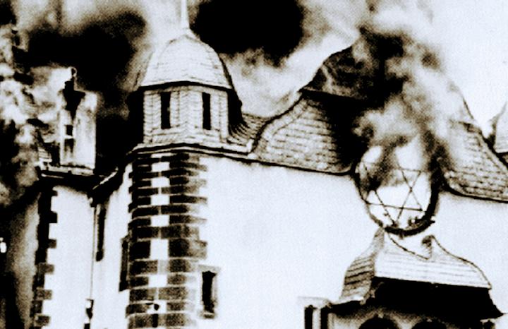 Brennende Synagoge.