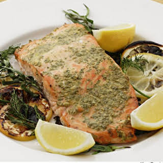 Grilled Salmon With Mustard & Herbs.