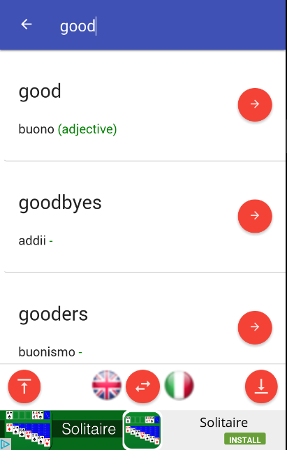 italian, english, dictionary, offline, translator- screenshot